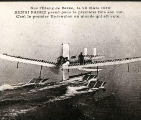 Carte postale 1er vol Henri Fabre 1910- Archives CCIMP