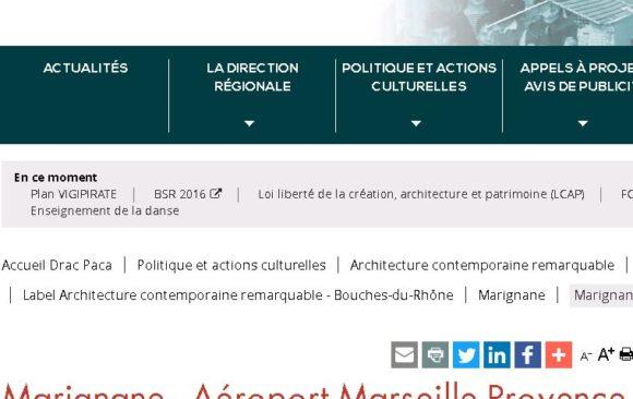 Site Ministère de la Culture Patrimoine contemporain remarquable Aéroport Marignane