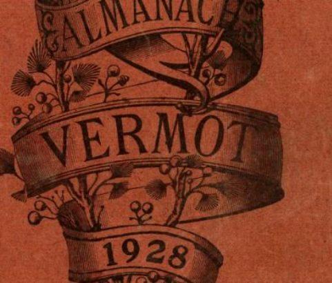 Fac similé de la couverture de l'Almanach Vermot 1928 avec article canal du Rove