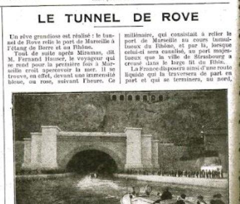 Fac Similé de l'article sur le tunnel du Rove Almanach Vermot 1928