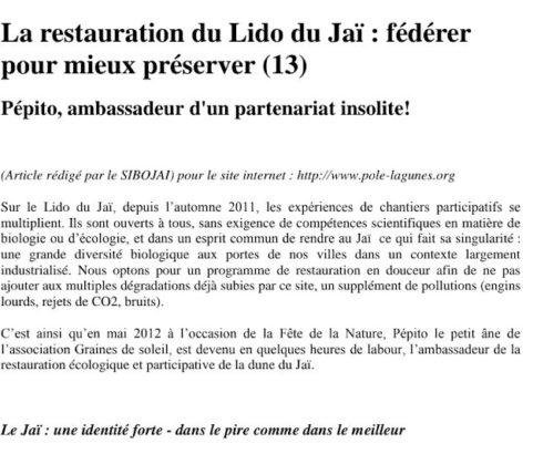 Article sur la restauration du Lido du Jaï - Pôle Lagunes