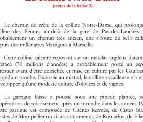 Texte de la balise sur le GR2013 Colline Notre-Dame