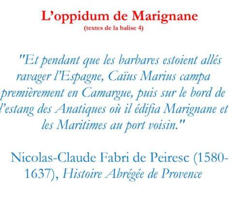 Texte de la balise sur le GR2013 Oppidum de Marignane