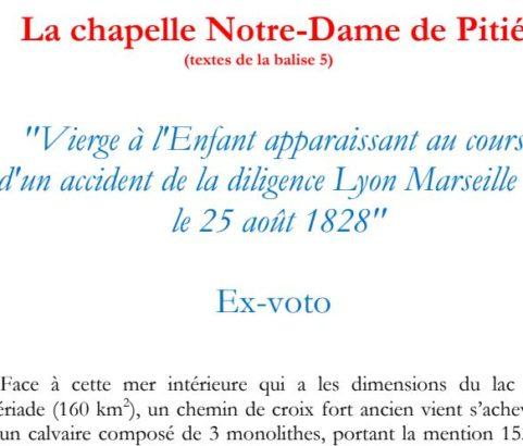 Texte de la balise sur le GR2013 Chapelle Notre-Dame de Pitié
