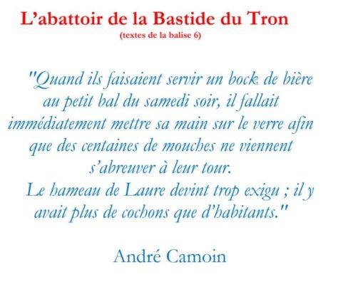 Texte de la balise sur le GR2013 L'abattoir de la Bastide du Tron
