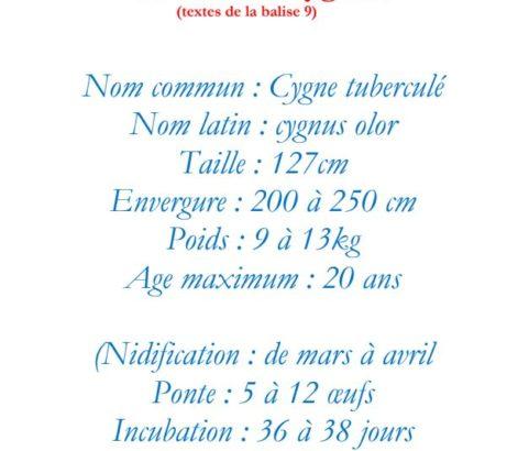 Texte de la balise sur le GR2013  Aire des Cygnes