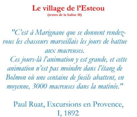 Texte de la balise sur le GR2013 Village des pêcheurs de l'Esteou