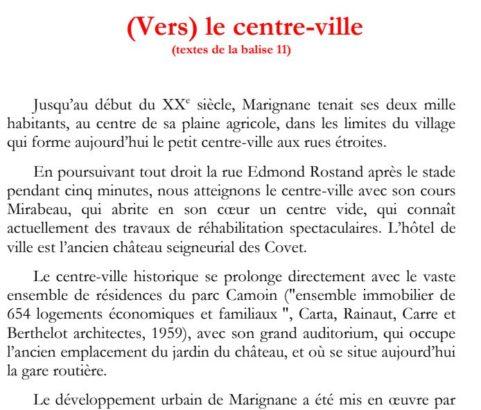 Texte de la balise sur le GR2013 (Vers) le Centre ville