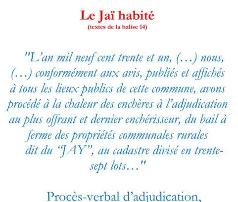 Texte de la balise sur le GR2013 Le Jaï habité