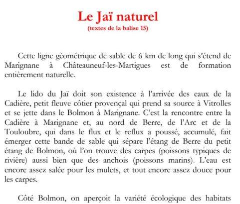 Texte de la balise du GR2013 Le Jaï naturel