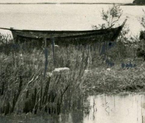 Les barques des pêcheurs sur l'étang